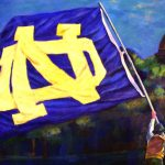 NOTRE DAME FLAG 30in.x40in. acrylics on canvas $2500