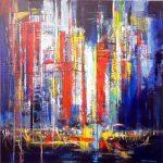 CITY LIGHTS 36inc.x36inc. acrylics on canvas $1200