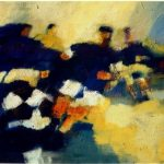 SOCCER GAME 36inch x 48inch oil on canvas $1200