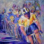 The Bike Race (32inch x 32inch acrylic on canvas) SOLD