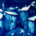 Moonlit Hill Town (24 inch x 48 inch acrylic on canvas) SOLD