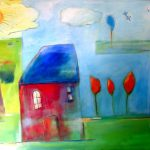 Blue Roof (30 inch x 40 inch acrylic on canvas), $900