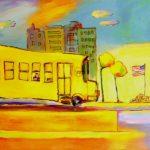 School Bus (24 inch x 48 inch acrylic on canvas), SOLD