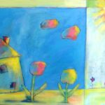 House & Flowers (18 inch x 24 inch acrylic on canvas), $650