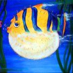 PUFFER FISH 30 inch x 40 inch acrylic on canvas $1000