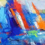 MULTICOLORED SAILING (12in. x 48in. acrylic on canvas $975 SOLD