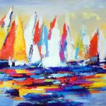 GATHERING OF SAILS 24in. x 36in. acrylics on canvas $1100 SOLD