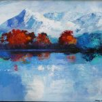 MOUNTAIN LAKEVIEW 24inx30in acrylics on canvas $950